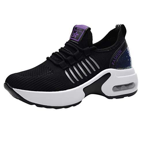 Abvenc Scarpe da Ginnastica Corsa in Mesh, Sneakers da Sportive con Foro Respirazione Motivo Traforato Fitness Leggero Traspiranti per Uomo Donna (Nero, EU:38)