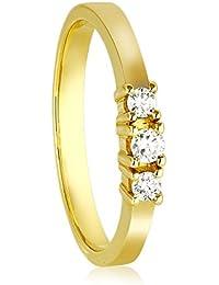 Diamond Line Damen - Ring 585er Gold 3 Diamanten ca. 0,16 ct gelbgold