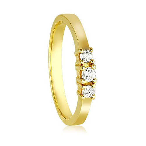 Diamond Line Damen - Ring 585er Gold 3 Diamanten ca. 0,16 ct., gelbgold (Diamant-ring Gelb-gold)