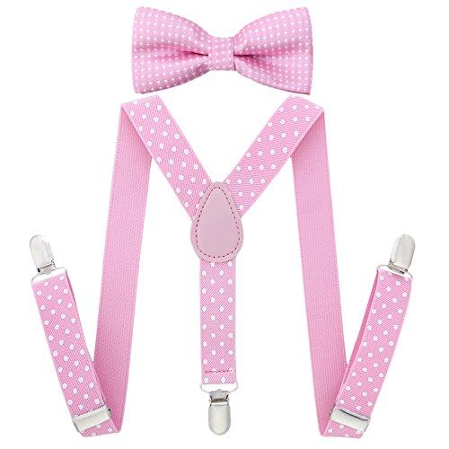 Kinder Hosenträger Y Form mit Fliege - 25mm mit 3 Clips Krawatte Set (Rosa Tupfen)