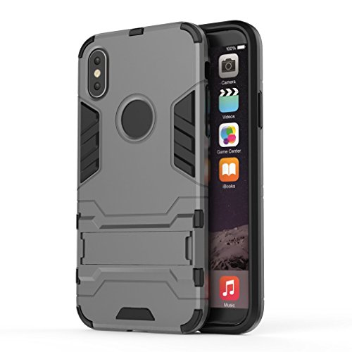 Custodia per iPhone X Cover , YIGA nero Rugged Armor Dual Layer Ibrida PC + TPU Case Cover Shockproof Protezione Custodia Supporto Bumper Back Cover with Stand Kickstand per Apple iPhone X (5,8 pollic gray