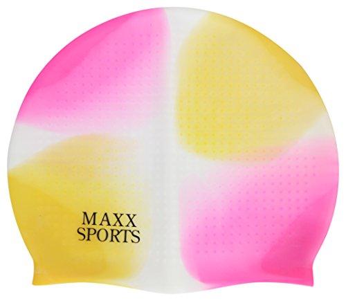 Baby Grow Swimming Cap for Pool Multi Color Waterproof Protect Ears Boys Girls Swim Caps (Pink-Yellow)
