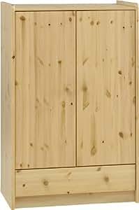 Steens 29009919 For Kids Kleiderschrank, Kinderzimmerschrank mit Wäscheeinnteilung, 79 x 123 x 53 cm (B/H/T), Kiefer massiv, natur lackiert