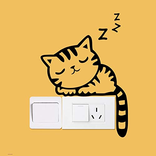 Diy Funny Cute Sleeping Cat Dog Switch Stickers Wall Stickers Decal Home Decoration Bedroom Living Room Roomwandaufkleber Für Schlafzimmer Aufkleber Wandsticker Wohnzimmer Mit Diy Wand Spiegel Stück