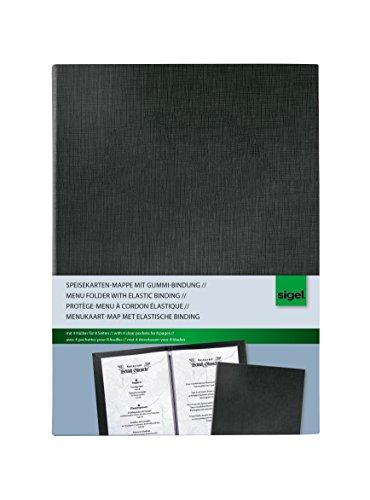 Sigel SM115 Speisekarten-Mappe mit Gummi-Bindung für A5, schwarz - auch in A4