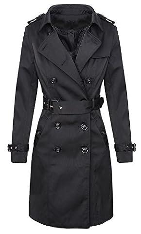 Trenchcoat Damen Designer Mantel Jacke D-312 [V3432 Schwarz