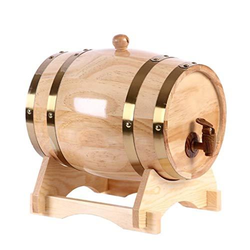 Kylinjtt Whiskey Barrel Dispenser Eichenfässer Home Whiskey Barrel Decanter Für Wein, Spirituosen, Bier und Spirituosen (Size : 3L)