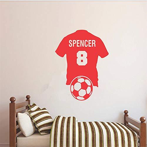 wort tasse Benutzerdefinierte Personalisierte Name Nummer Fußball Shirt Fußball Wandtattoo Vinyl Aufkleber Kid Boy Room European Cup 57 * 70 cm -