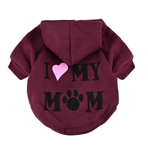 Kleine Haustier Hundekleidung Rosennie Mode Kostüm Welpen Baumwollmischung T-Shirt Bekleidung Dickes Haustier Kapuzenpullover Pullover Hund Katze Kleidung Strick Warme Weste fuer Hunde Jacke (XS, Rot) -