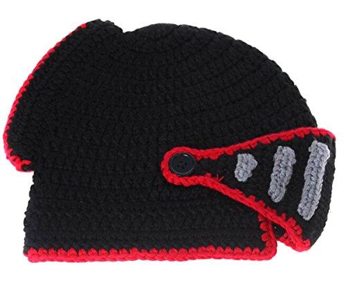 EJY Neuheit römischen Ritter Helm Caps Handgemachte Knit warme Winter-Maske Mützen Kid Partei-Schablone Mützen (kleine für Kinder, schwarz)