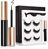 Magnetic Eyeliner and Magnetic Eyelash Kit, No Glue Reusable Silk False Lashes, Waterproof Natural Look Reusable 5 Magnets False Lashes and Liner with Applicator