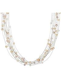 Valero Pearls - Collier de perles - Perles de culture d'eau douce - Fil en acier inoxydable - Argent sterling 925 - Bijoux de perles, bijoux en acier inoxydable - 440530