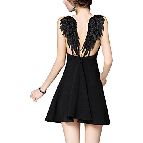 Robe sexy en dentelle jupe de plage halter robe de vacances bord de mer - noir Black