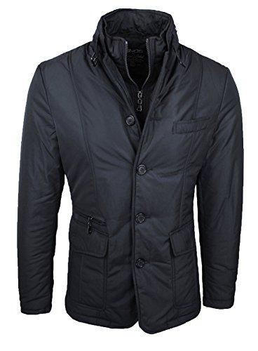 Giaccone piumino uomo invernale casual elegante giubbino giacca trench con gilet interno (nero, xxl)