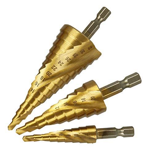 Fortag 3 teilig HSS Spiralnut Stufenbohrer Set Bithalter Schälbohrer Kegelbohrer Konusbohrer Metallbohrer Bohrer Satz Cut-Werkzeug-Set 4-12mm/4-20mm/4-32mm -
