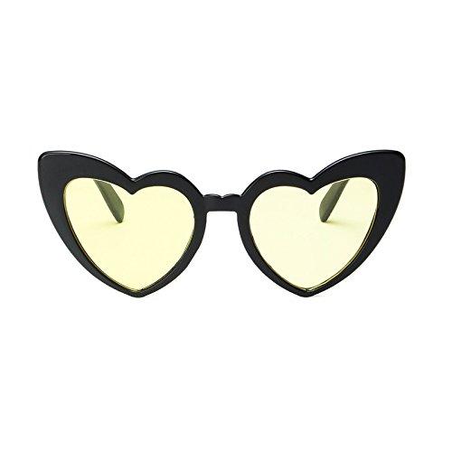 SUNGLASSES Neue Liebe-Dame-Sonnenbrille-Nette Herz-Sonnenbrille (Farbe : Bright Black Yellow)
