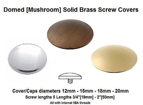 12x Spiegel/Display Schrauben, Chrom poliert Pilz/Dome 12-20mm Kappen/Abdeckungen mit Sicherheit Unterlegscheiben. 5Schraube Längen. (12x 1-1/10,2cm Schraube + 20mm Gap Cover + Sicherheit Unterlegscheiben), metall, silber, 12x 1