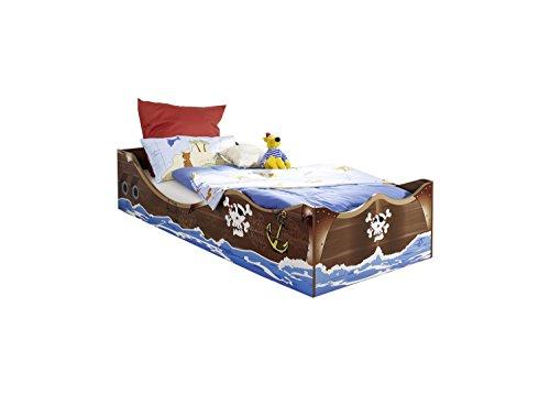 Kinderbett Pirat 90*200 cm braun kernnuss GS-geprüft Jungen Jugendzimmer Kinderzimmer Seeräuber Bett Bettliege Jungenbett Piratenbett