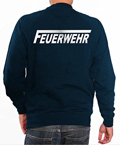 feuerwehr sweatshirt Sweater FEUERWEHR in navy mit silber reflektierendem beidseitigem Schriftzug mit langem