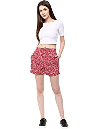Fashion Flavor Women's Casual Red & Black Shorts