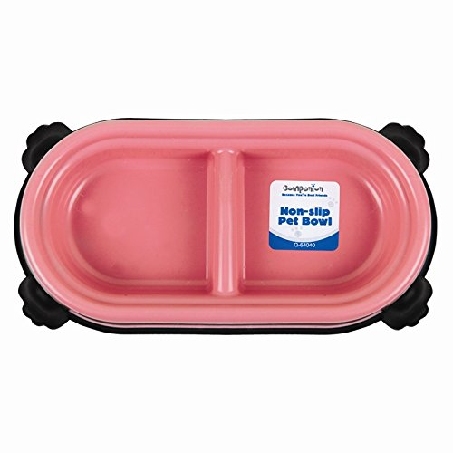 Double-Pet-FoodWater-Bowl-Non-Slip-Pink