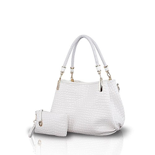 Nicole&Doris New Krokodil-Korn-PU-Leder-Frauen / Damen Schultertasche Handtasche Umhängetasche Totes Large Bag Weiß (New-handtaschen Bag Tote)