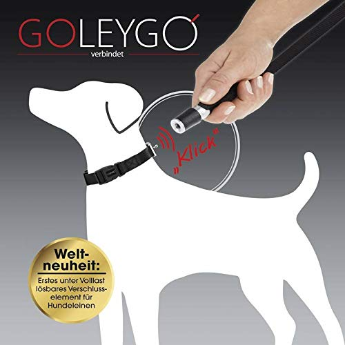 GOLEYGO Hundeleine & Halsband - Schwarz - Größe S-M   innovatives Magnet-Klick-System mit Kugelstift, unter Vollast lösbar   für Hunde bis max. 40 kg   Leinenlänge 120-200 cm -