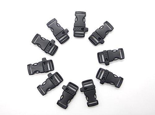MMY-Double Côté Réglable Libération Boucles en plastique Release Buckle avec Sifflet pour Sangle/Corde/Chaîne de chien/L'extérieur/Randonnée/Camper-Noir-Lot de 10 (48*14 mm)