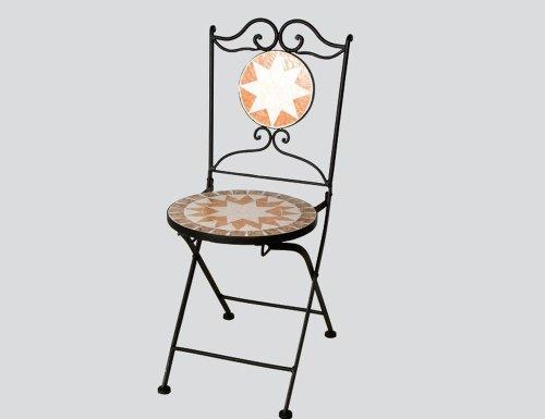 6 Stück SIENA GARDEN Klappstuhl Finca, 43 x 43 x 92 cm, klappbar Gestell schwarz mit Mosaik-Sitzfläche