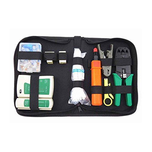Preisvergleich Produktbild Minzhi 10-in-1 Netzwerk-Tool-Kit mit Kabeltester Crimpen Schneidwerkzeug Stanzwerkzeug f¨¹r Home Use Computer Network Werkzeug-Reparatur-Set
