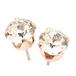 pewterhooter Rose Gold Stud Earrings expertly Made with Sparkling Crystal from Swarovski.