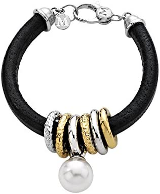 Majorica - Cuero pulsera de 19 cm de largo, 14 mm redondo blanco perla