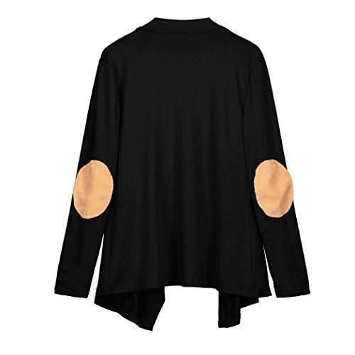 HUHU833 Blouse Femmes Hiver Casual Dentelle irrégulière à manches longues mode Tops Sweater Tee-Shirt Noir