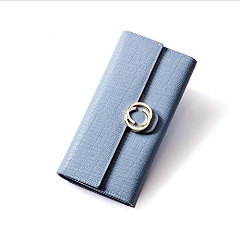 LDMB Portefeuilles Femmes de cuir véritable Simples Trifold Multi-carte Long Portefeuille Ladies Solid Couleur Polyester Doublure Long Bifold Purse Clutch Bag Sac à main , blue