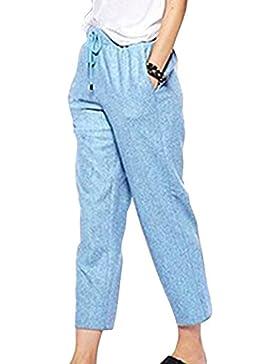 Huateng Pantaloni estivi da donna Pantaloni da spiaggia Pantaloni morbidi e confortevoli in lino Pantaloni casual...
