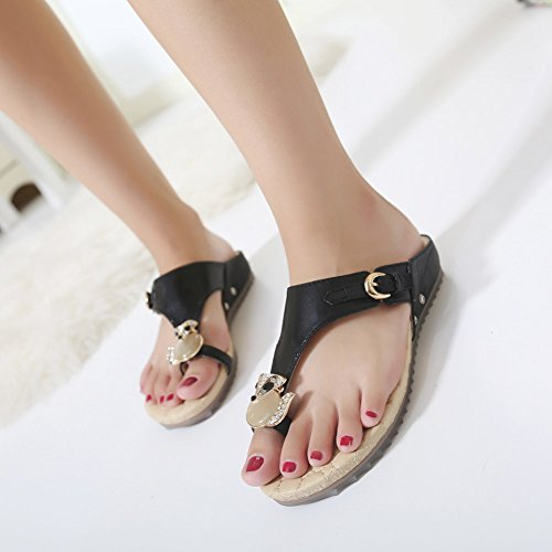 Sandales plates antidérapantes forme tong femme Noir