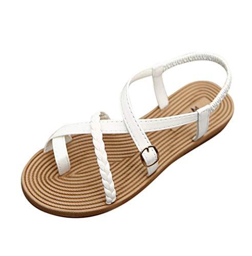 Sandales Femmes Plates Pas Cher Confortables Chaussure Femme Ete Mode Casual Boheme Romaines Tissage Sandal