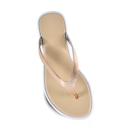 d4a2b67c61c91 DINZIO Ladies Womens Open Toe Thong Metallic Sandals Summer Flip Flop Flat  Shoes Gold 5