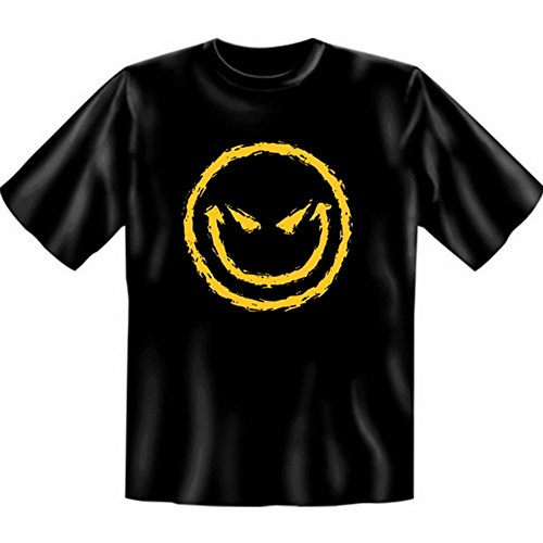 Halloween T-Shirt - Böser Smiley - gruseliges Sprüche Shirt für die Halloween Party Schwarz