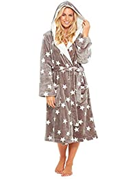 6ce020bbd5 Slumber Hut® Ladies and Girls Matching Hooded Fleece Dressing Gown Luxury  Sherpa - Grey Star