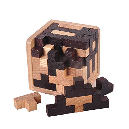 Molog 3D Jigsaw Puzzle Brain Teaser Cubes Tetris Shape Wooden Cube Educational Toy for Kids and Adults (Schwarz+Weiß)