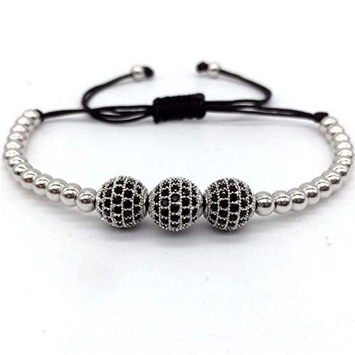Armband Armreif,Schmuck Geschenk,Fashion 4Mm Beads Tube Pave Cz Geometric Braided Macrame Men Women Bracelet Jewelry Gift - Loom Organizer Armband