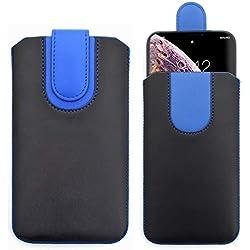 Sweet Tech Coque pour Klipad KL600 6 inch Smartphone - [Noir/Bleu] Étui de Protection en Cuir PU, Housse avec Rabat magnétique et Cordon de Traction