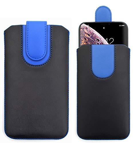 Sweet Tech Custodia Protettiva [Nero/Blu] per iNew L7 5.5 Pollici - Cover in Pelle PU con Linguetta, Pull Tab Case, Sacchetto con Chiusura Magnetica