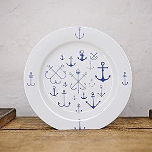 Maritimer Teller Anker - Handmade von Ahoi Marie - Porzellan Speise-Teller original aus dem Norden