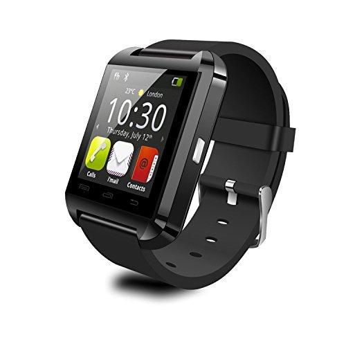 Willful U8 SmartWatch Bluetooth 3.0 1.44 pouces avec Montre Intelligent Synchrone avec Smartphone Compatible avec Android Système Support Musique/Camera/Telephone/Anti-perte/ Podomètre Support Seul SIM Card pour Sony/Samsung/LG/Moto Smart Phone(RNoir)
