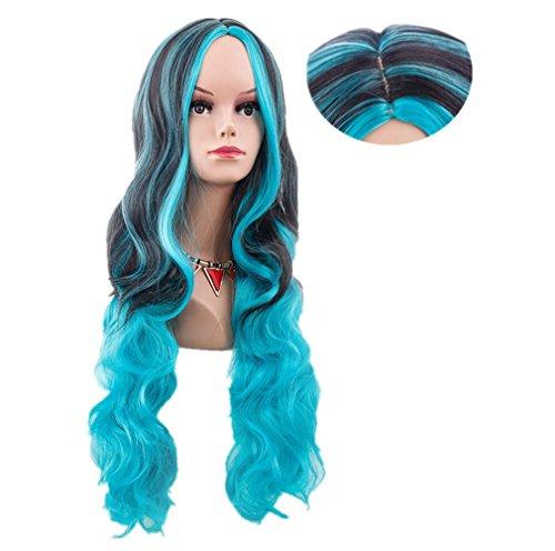 longlove Farbe Cosplay Perücke Lang Gelockt Haar Halloween Gradient Haar Typ 80cm Fake Kopfbedeckung