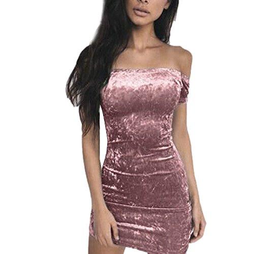 Sasstaids Heißer Sexy Damen Schulterfrei Minikleid Damen Abend Party Samtkleid Cocktail-Abendkleid Partykleid Eingewickeltes Hüftkleid -