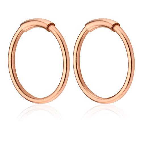 JSDDE Piercing Set 20G Edelstahl Hoop Creolen Piercing Septum Ring mit Futterrohr Lippen Helix Traugs Ohrpiercing Rosegold 8mm