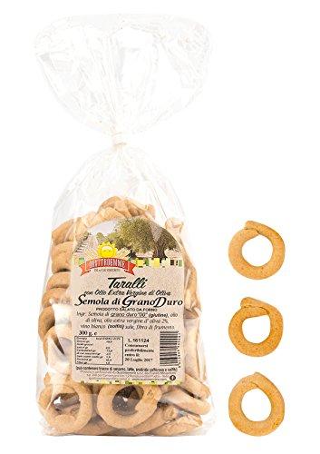 Taralli di semola pugliesi con olio extra vergine d'oliva 4 pacchi da 300 g.